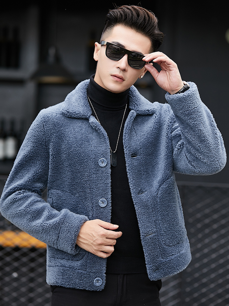 Natural Sheep Shearling Fur Coat Short Winter Jacket Men Clothes 100% Wool Fur Coats Mens Plus Size Coat YC1993 MY770