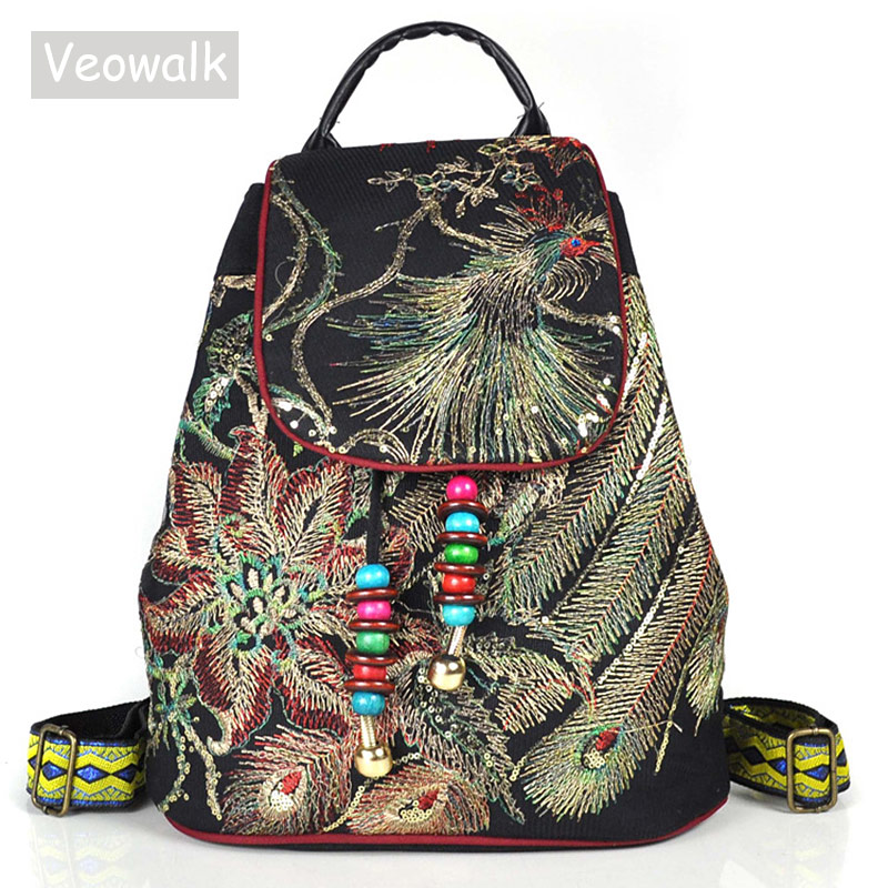 Veowalk Peacock Sequins Embroidered Women Canvas Backpacks Handmade Ladies Floral Rucksacks Woman Small School Back Bag Backpack