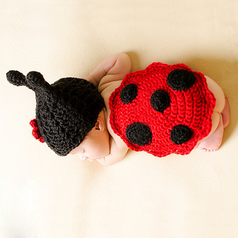 2020 Cute Ladybug Design Crochet Newborn Animal Costume Photo Props Knitted Infant Boy Girls Crochet Baby Hats For Photo Shoot