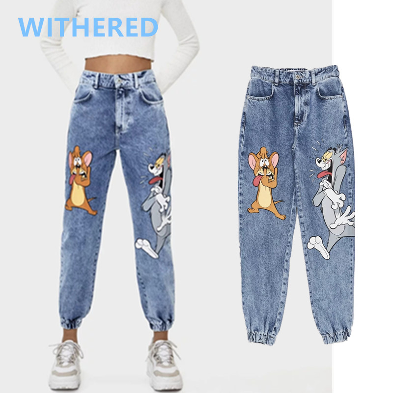 Dave&Di England High Street Vinatge Cartoon Printing Washed Jeans Woman High Waist Jeans Harem Jogger Boyfriend Jeans For Women