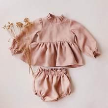 王女女の赤ちゃん服春秋のリネン綿女の子ブラウス + ボトムショーツ0-2 y女の赤ちゃん服衣装