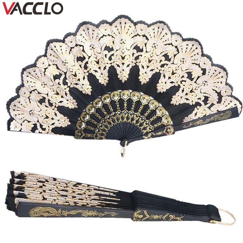 Vacclo Folding Hand Held Fan Flower Lace Black Wedding Dance Party Silk Fans Luxury Fashion Hot Stamping Fan Spanish Style