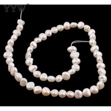 Sale!! 7-8mm White Pink Cultured Baroque Freshwater Pearl Beads Loose Bulk Pearls For Jewelry Making Necklace 0.8mm 15.7 Inch