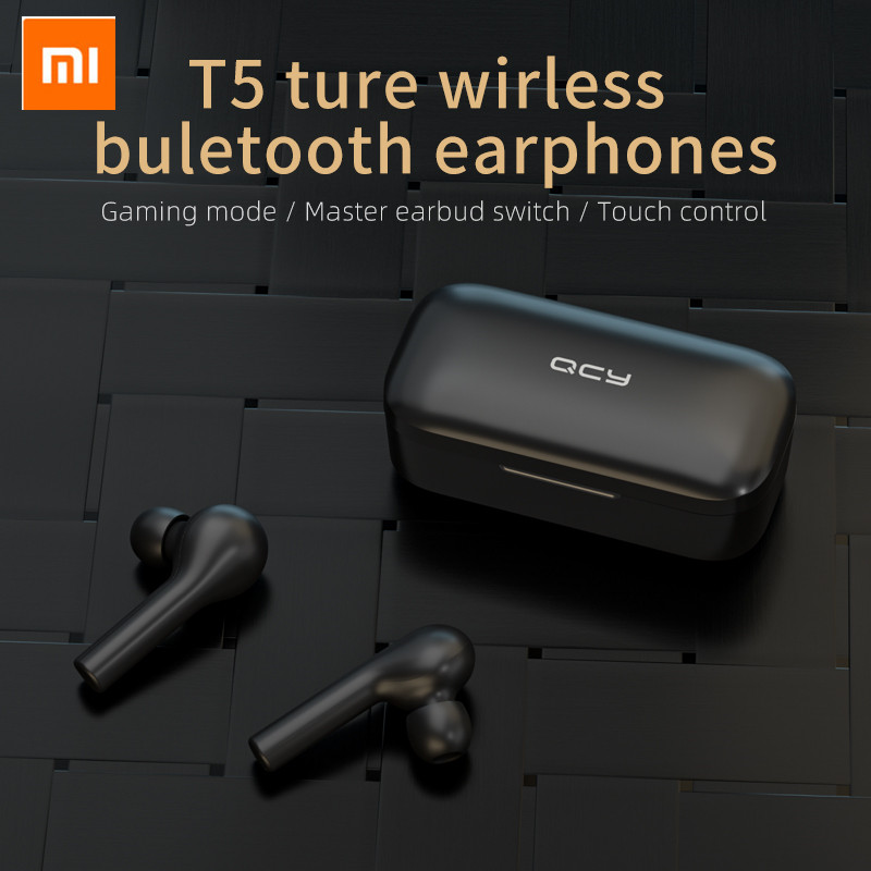 Xiaomi T5 TWS Fingerprint Touch Wireless Headphones Bluetooth V5.0 3D Stereo Dual-Mic Noise Cancelling Earphones