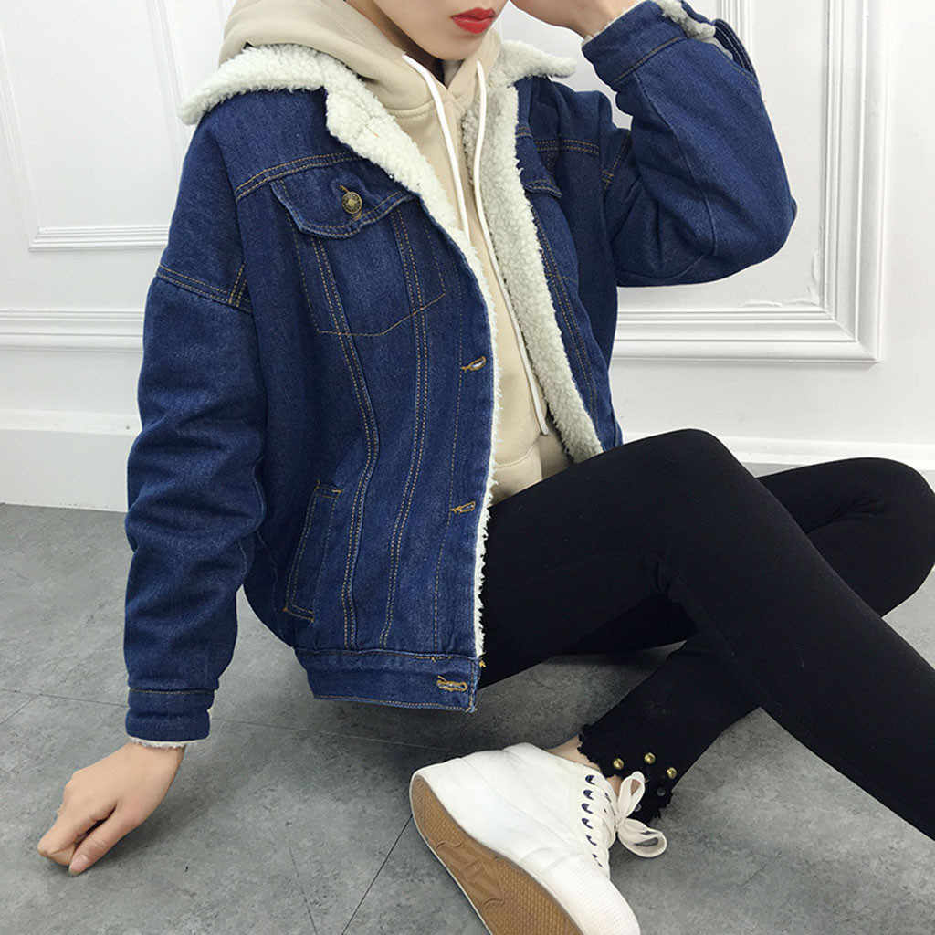 Women's Hoodie Jacket Blue Denim Winter Coat 2019 long sleeved Thicken Warm Fleece Jean Jacket Drop ship Coat Punk Outwear