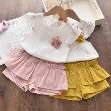 Комплект одежды для новорожденных девочек, рубашка и шорты без рукавов с цветочным принтом, комплект одежды