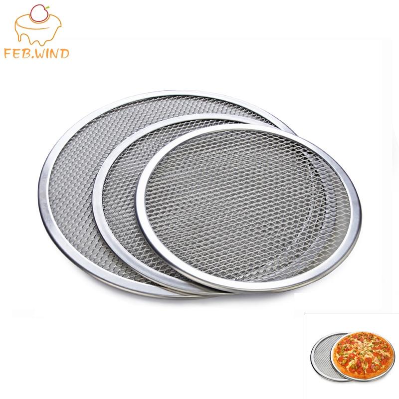 FEBWIND Bakeware Pizza Tools Round Aluminum Pizza Screen Baking Tray Net Mesh Pizza Stone Pan Metal Baking Accessory 062