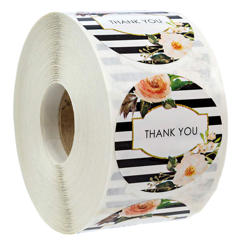 Black And White Stripe Floral Thank You Stickers Seal Labels For Package Decoration Wedding Labels School Stationery Sticker