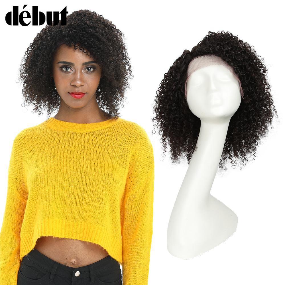 Debut Kinky Curly Short Human Hair Lace Wigs For Women Brazilian Remy Hair Natural Color L Part Kinky Curly Lace Wigs