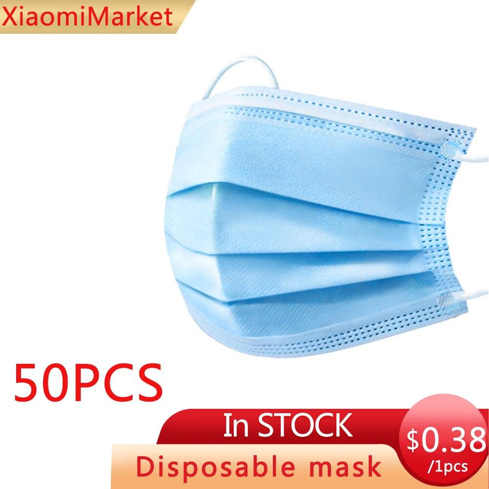 100PCS Disposable Protective Mask 3 Layers Dustproof Facial Protective Cover Masks Maldehyde Prevent  Anti-PM2.5Masks