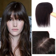 Human-Hair Topper-Hairpieces Crown Silk-Base Air-Bangs Clip-In Women for Thinning
