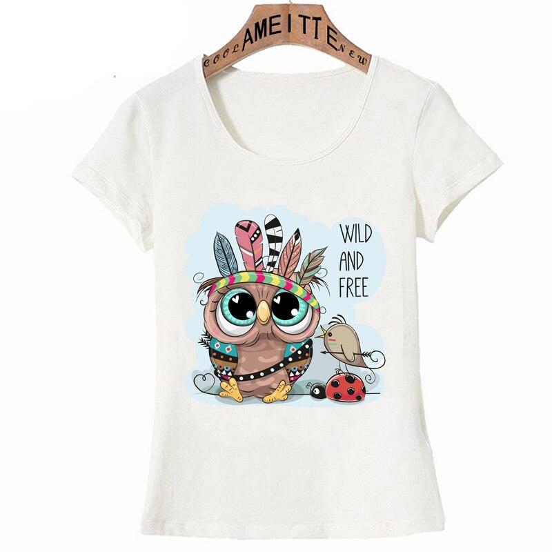 Cute tribal owl and bird with feathers Print T-Shirt Summer Fashion Women T-Shirt Cute Girl Casual Tees Woman Cartoon Tops(China)