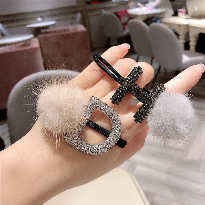 Letter D H Fashion Mink Flash Czech Crystal Rhinestone Elastic Hair Bands Rope Scrunchie Girls Adult  Women Accessories Jewelry