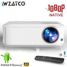 WZATCO-Proyector portátil para cine en casa modelo T59, dispositivo de proyección 4k Full HD nativa de 1080P, 10,0 con Android, Wifi, para ver películas