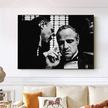 Godfather Poster Marlon Brando Print Black and White Movies Pictures Walls Art Canvas Painting Frameless