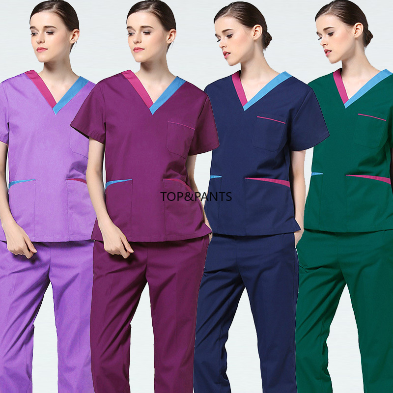 NEW Medical Uniforms Color Blocking Scrubs Set Pure Cotton Short Medical Uniforms Women Fashion Doctor Nurse Scrubs Top & Pants