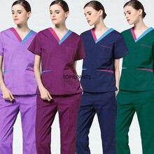 NEW Medical Uniforms Color Blocking Scrubs Set Pure Cotton Short Medical Uniforms Women Fashion Doctor Nurse Scrubs Top & Pants