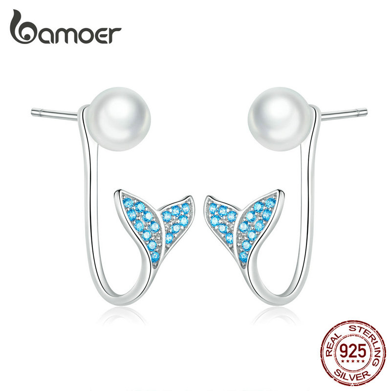 Bamoer Pearl Earrings For Women Sterling Silver 925 Blue CZ Mermaid Fish Tail Earrings Bijoux Pendientes 2019 New SCE761