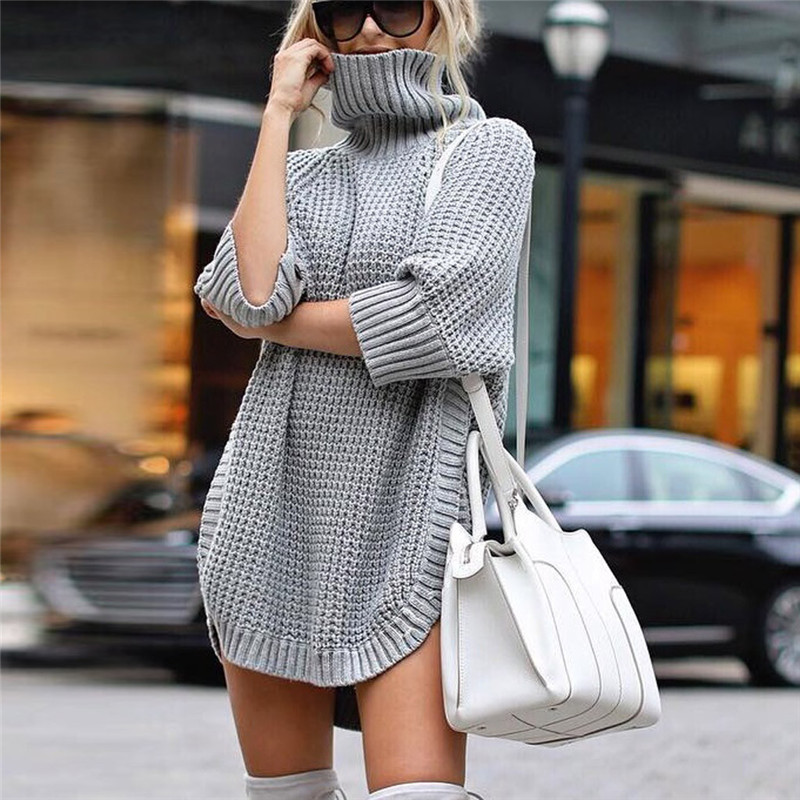 Fashion Women Casual Irregular Sweater Dress Solid Long Sleeve Half Sleeve Knitted Sweater Top Pullover Feminino 50Au2915
