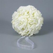 Sıcak 15x21cm el yapımı yapay gül çiçekler öpüşme asılı top DIY buket ev düğün dekor çiçek topu düzenleme