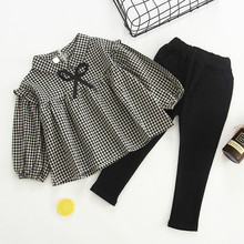 Humor Bear Baby Autumn Girls Clothing Sets Plaid Girls Clothes Suit Cotton Long Sleeves Shirt + Leggings 2pcs Children Sets cheap Formal Turn-down Collar Pullover BN404-A Wool Stretch Spandex Full REGULAR Fits true to size take your normal size Coat