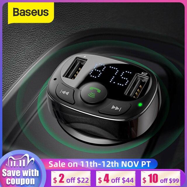 Baseus سيارة شاحن آيفون الهاتف المحمول يدوي FM الارسال بلوتوث سيارة عدة LCD مشغل MP3 المزدوج USB سيارة شاحن الهاتف