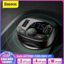 Baseusためのiphoneの携帯電話ハンズフリーfmトランスミッターbluetoothカーキット液晶MP3 プレーヤーデュアルusb自動車電話充電器