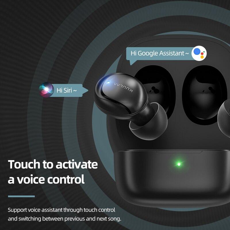 KUULAA наушники-вкладыши TWS с отпечатков пальцев Сенсорный экран Bluetooth наушники, HD стерео Беспроводной наушники, Шум отмена игровая гарнитура 3