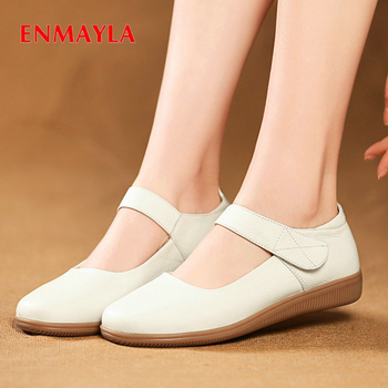ENMAYLA Genuine Leather Luxury Shoes Women Basic 2020 Casual  Round Toe Spring/Autumn Genuine Leather Pumps Women Shoes 34-43