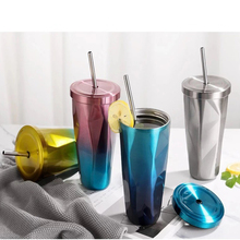 500ml Stainless Steel Tumbler with Straw Hot and Cold Double Wall Drinking Cups Coffee Mugs Irregular Diamond with Lid straw tumbler with lid