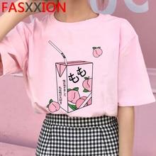 Tshirt Casual Ullzang-Peach Tees Graphic Harajuku Female Women 90s Streetwear Summer