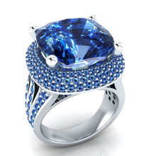 The New Ring For Women Zircon Is A Fashionable Luxury Accessory Set In Blue Topaz Diamond Plated With White Gold