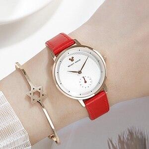Image 5 - 2020 yeni lüks kadın moda moda kol saati kadın Disney Quartz saat deri kadın saatler bayan kız hediye Mickey saat
