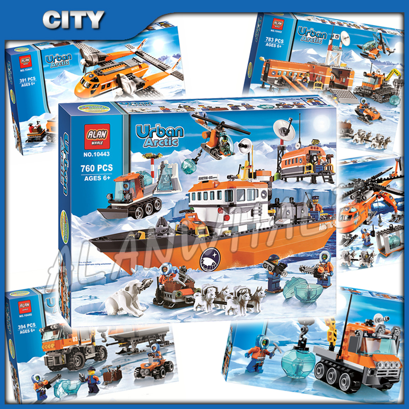 6types 2014 City Arctic Theme Icebreaker Helicopter Explorer Base Station Truck Model Building Blocks Toys Compatible With Lago