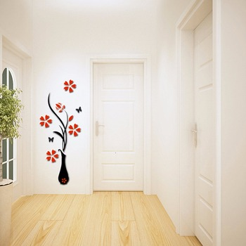 Acrylic Crystal Three-dimensional Wall Stickers Tv Background 2017 New Entranceway Hallway Home Decoration Arrival Vase 3D
