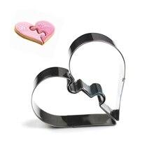 2 сердца печенья Инструменты Резак прессформы Набор из пресса для бисквитов и айсинга штамп прессформы из нержавеющей стали для торта кухня столовая Бар Alibaba Китай