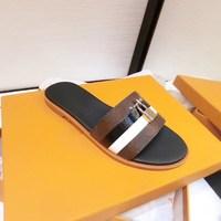 women designer sandal lock it flat mule luxury Slippers Genuine leather designer slides Summer Flat Flip Flops Large size US4 11