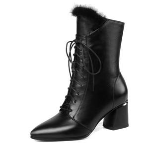 Image 2 - FEDONAS أنيقة النساء الشتاء حفلة موسيقية منتصف العجل الأحذية الدافئة جلد طبيعي عالية الكعب تشيلسي الأحذية عبر تعادل أحذية رقص امرأة