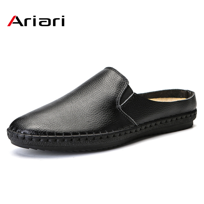 Men Slipper New Mens Leather Summer Flats High Quality Breathable  Shoes Fashion Solid Outdoor Slip On Casual Shoes