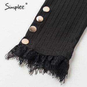 Image 5 - Simplee, blusa informal de punto con botones de primavera para mujer, blusa Sexy de encaje para club, blusa femenina de punto, blusas de talla grande para mujer