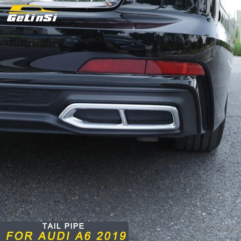 Gelinsi pour Audi A6 2019 voiture style queue tuyaux d'échappement silencieux cadre couverture garniture autocollant accessoires extérieurs
