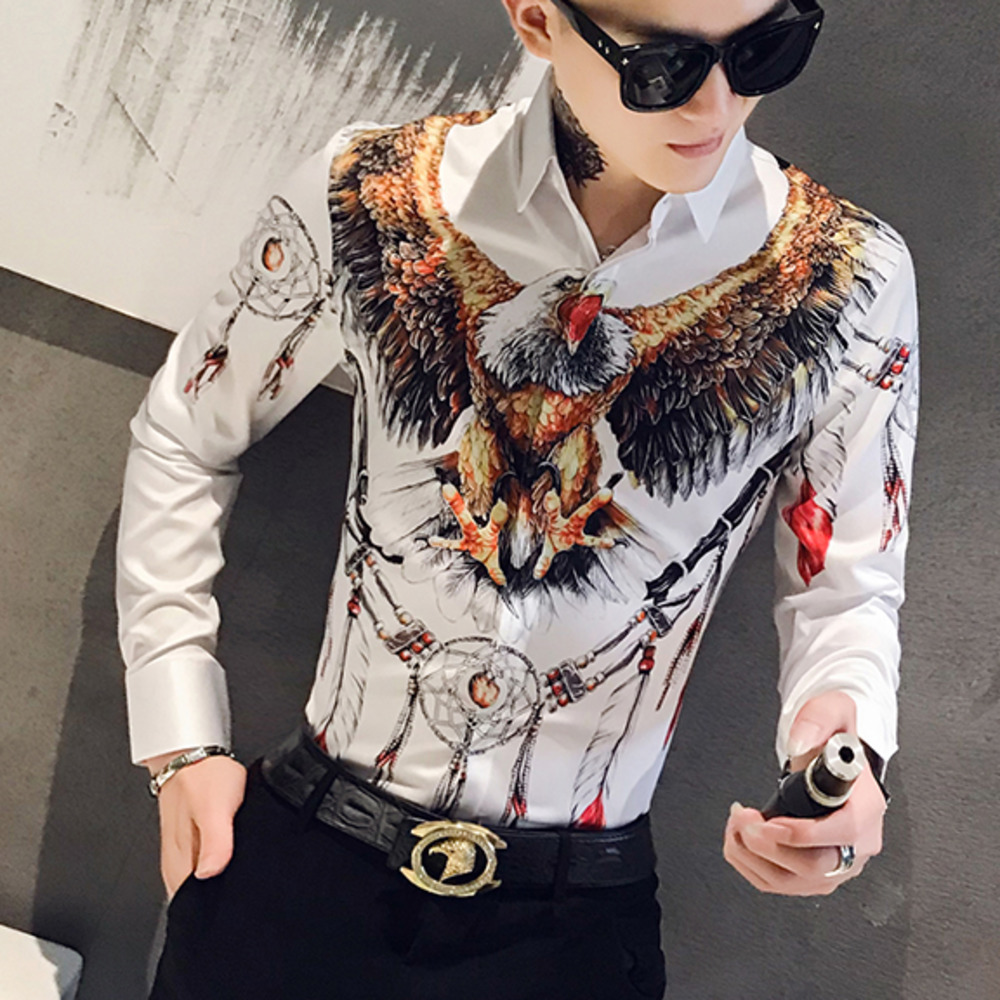 Designer 3D Eagle Print Men Shirt Dress Long Sleeve Casual Slim Fit Mens Social Shirts Night Club Bar Streetwear Clothes Camisa