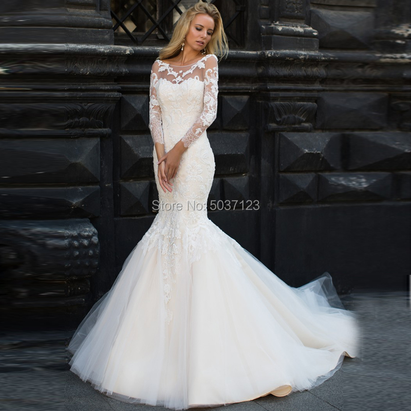Long Sleeves Mermaid Wedding Dresses Scoop Zipper Vestido De Noiva Lace Appliques Bridal Gown Court Train Marriage