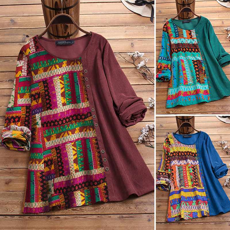 ZANZEA Corduroy Shirts Women's Blouse 2020 Vintage Female Printed Ethnic Blusas Ladies Casual Long Sleeve Tunic Tops Plus Size