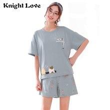 Летний пижамный комплект Женская Хлопковая пижама с мультяшным