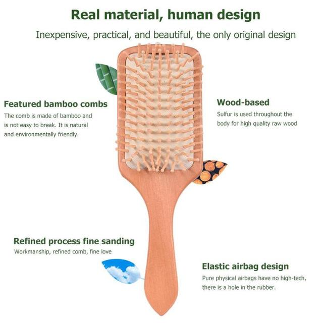 Wood Comb Extremely Elastic Soft Air Sac Orifice Professional Healthy Paddle Cushion Massage Hairbrush Scalp Hair Care 4