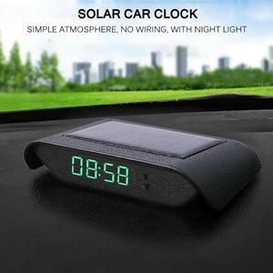 Автомобильные внутренние цифровые часы, механика, солнечный свет, 24 часа, автомобильные часы, украшение автомобиля, электронные аксессуары