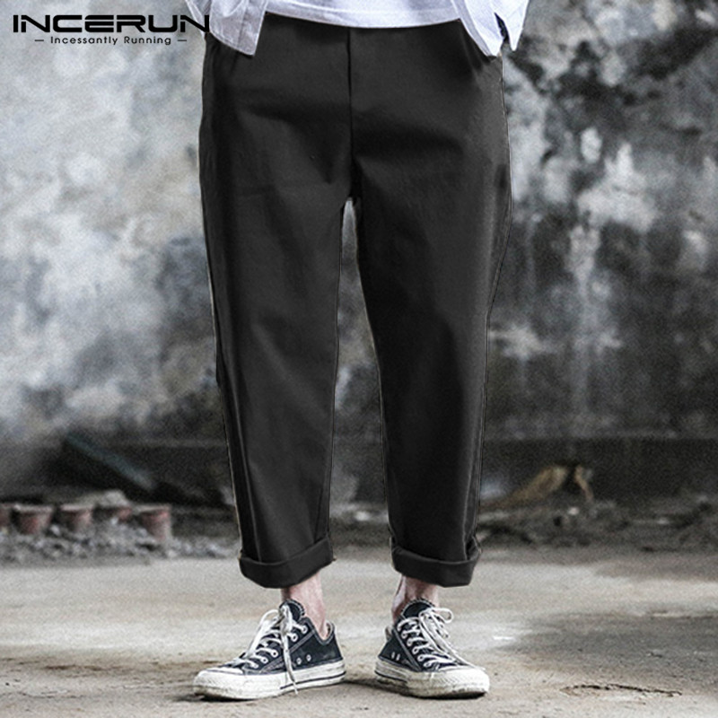 INCERUN Men Solid Wide Leg Harem Pants Business Casual Pockets Lacing Trousers Elastic Waist Daily Wild Mens Sweatpants Pantalon