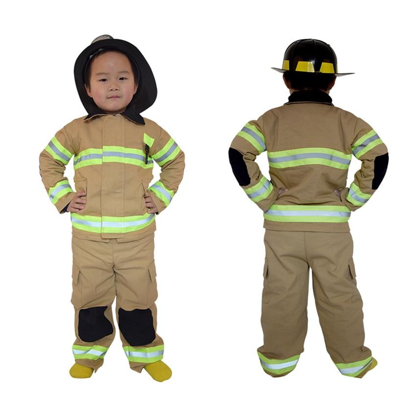 Kinder Halloween Party Kostüme Baumwolle Leinen Fireman Sam Leistung Übung Kleidung Set Feuerwehr Polizei Uniformen