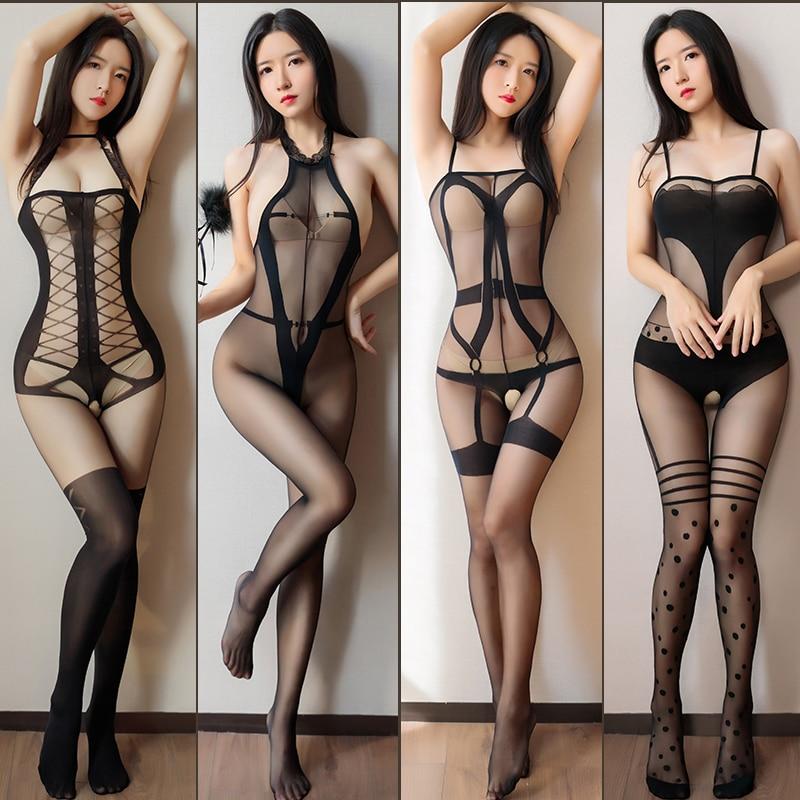 Черный сексуальный прозрачный облегающий костюм кошки, женские эротические костюмы, боди с открытой промежностью, нейлоновые колготки, пор...